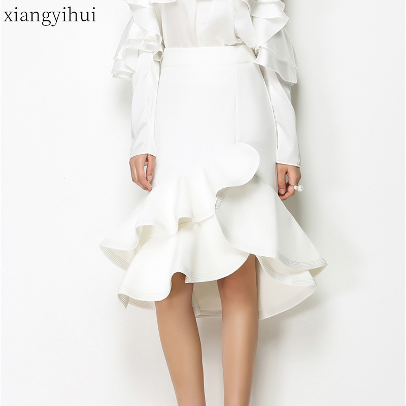 Solid Fashion Black White Ruffle Midi Skirt Women Korean Summer Fashion Elegant Tulle Skirt High Waist Irregular Streetwear 2018