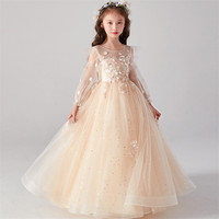 2020Baby Kids Korean Sweet Beautiful Birthday Wedding Party Princess Mesh Dress Children Girls Piano Costumes Princess Dresses