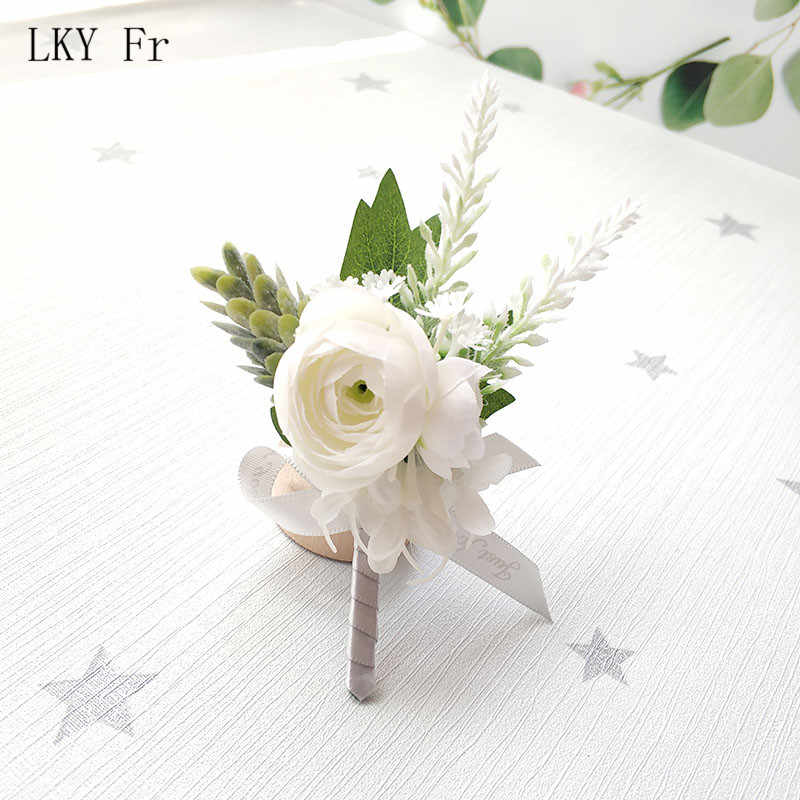 Lky FR Kancing Pernikahan Lubang Kancing Mawar Sutra Merah Muda Korsase Gelang Bridesmaid Groom Boutonniere Bunga Pernikahan Aksesoris