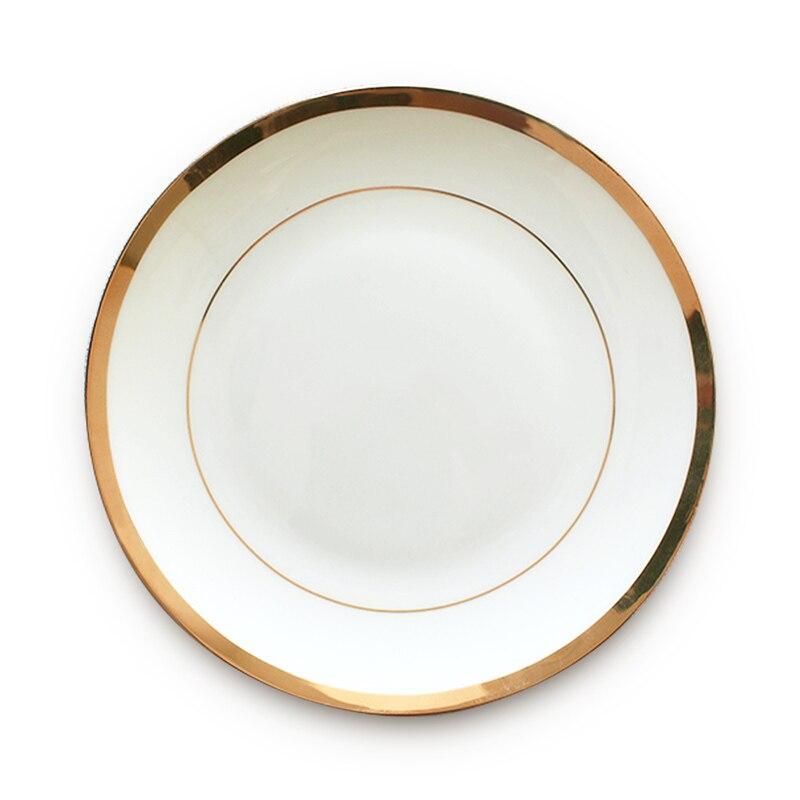 Assiette de Restaurant en porcelaine dorée | Vaisselle à bord en or assiette de Restaurant, assiette de luxe en porcelaine, Restaurant de famille occidentale, plateau de cuisine de mariage - 4