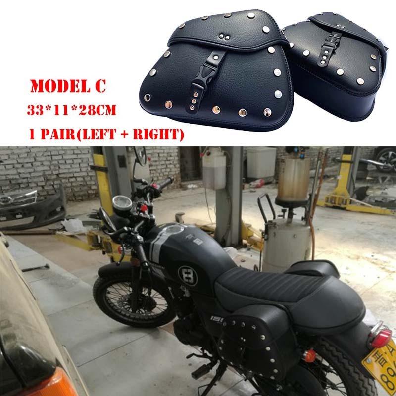 Motorcycle Bag Leather Saddle Bags 2pcs For Harley Sportster XL 883 XL 1200 Side Tool Bag Luggage alforjas para moto saddlebags (18)