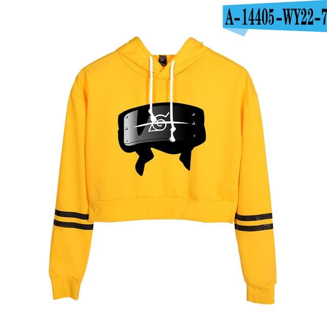 Now United Crop Top Hoodies Harajuku Japanese Anime Uzumaki Printed Hoodie Women Streetwear Fashion Cropped Sweatshirt Coat 11