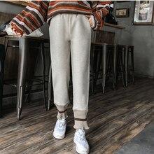 Мода размера плюс шерстяные брюки для девочек женские осенние