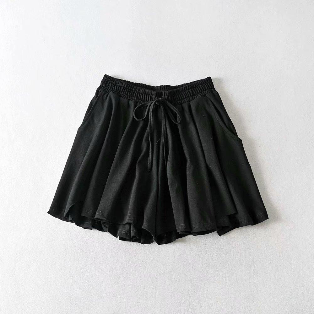 Shorts Women Fashion Casual High  Gray Waist Pocket With Sashes  Khaki Trouser Hrarjuku Autumn