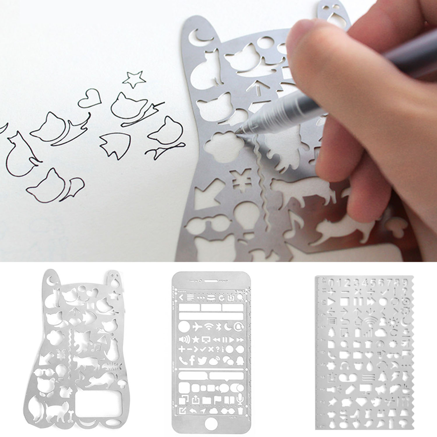 Portable Stainless Steel Multi Functional Drawing Template Painting Ruler Stencil For Agenda Planner Journal Scrapbook Diary