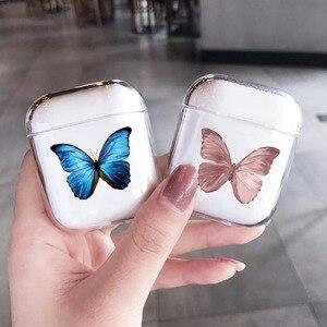 Image 3 - Airpods 프로 2 케이스에 대한 패션 아름다운 나비 케이스 에어 포드에 대한 귀여운 만화 하드 이어폰 커버 2 프로 충전 박스 capa