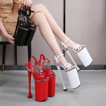 26CM bardzo wysokie sandały platformowe buty łańcuszek z krzyżykami połączenie damskie sandały letnie Spike Hihg obcasy kluby nocne zabawne buty damskie