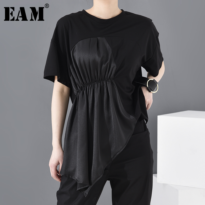 [EAM] Women Black Asymmetrical Pleated Big Size T-shirt New Round Neck Shoort Sleeve  Fashion Tide  Spring Summer 2020 JW59601