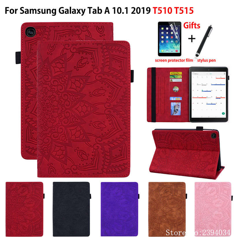 SM-T515 Case Cover For Samsung Galaxy Tab A 10.1 2019 T510 T515 SM-T510 Funda Tablet Embossed Silicone PU Leather Stand Shell