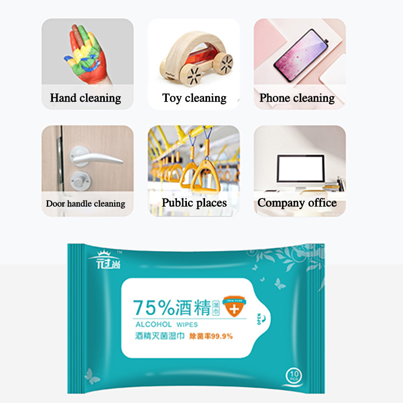 10 Sheets/Pack 75% Alcohol Wet Wipes Disinfection Portable Alcohol Swabs Pads Wipes Antiseptic Cleanser Cleaning Sterilization