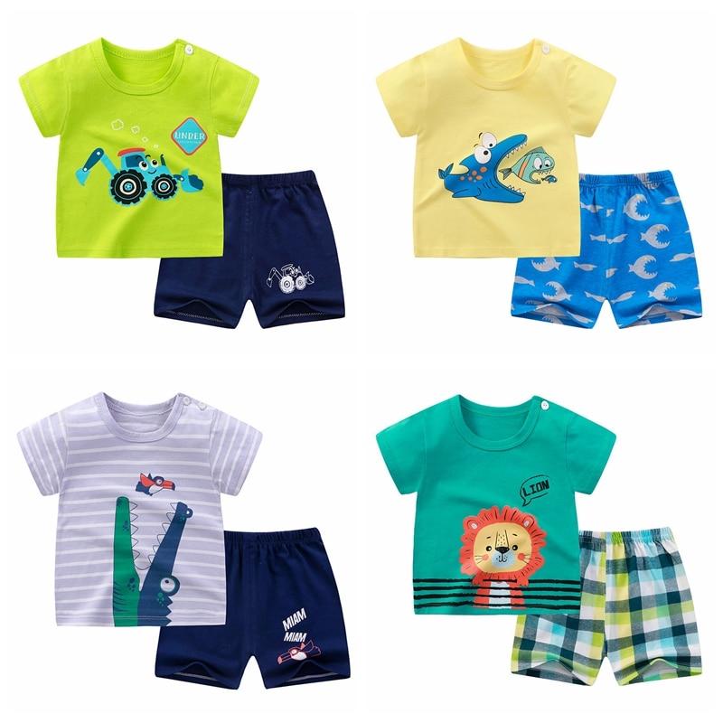 2020 ubrania dla dzieci maluch chłopcy kreskówkowe ubrania dla dzieci dziewczynki letnie koszulki garnitury 1 2 3 4 lata odzież dziecięca T-shirt + spodenki