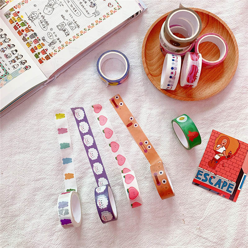 5m Cute Cloud Smile Face Washi Tape Kawaii Love Heart Masking Tape Decorative Tape Sticker Scrapbooking Diary Stationery Tape