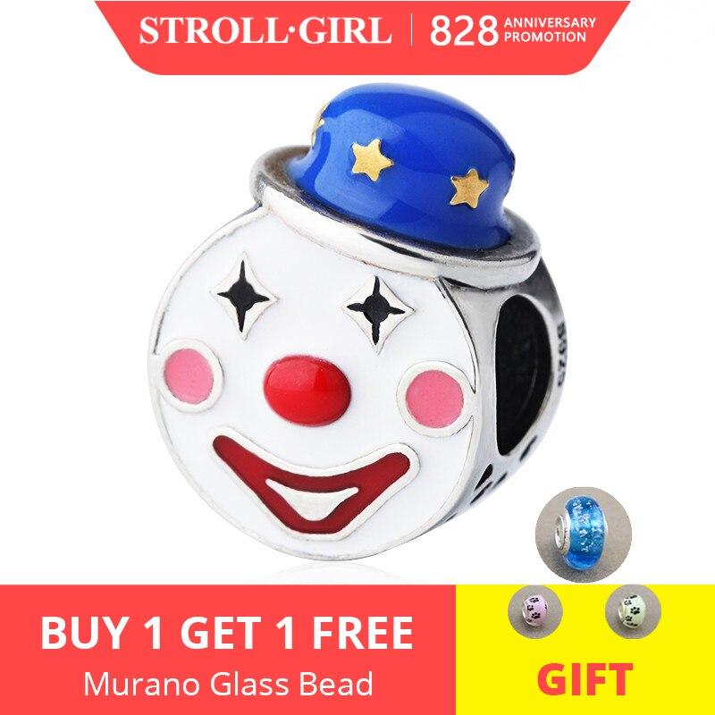 Charms-Beads Bracelet Gift Clown Original Pandora Jewelry-Making Silver 925 with Enamel