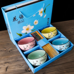 Chinoiserie Cherry Blossoms Ceramic Rice Soup Bowl Set Microwave Small Classical Salad Noodle Ramen With Chopsticks Tableware(China)