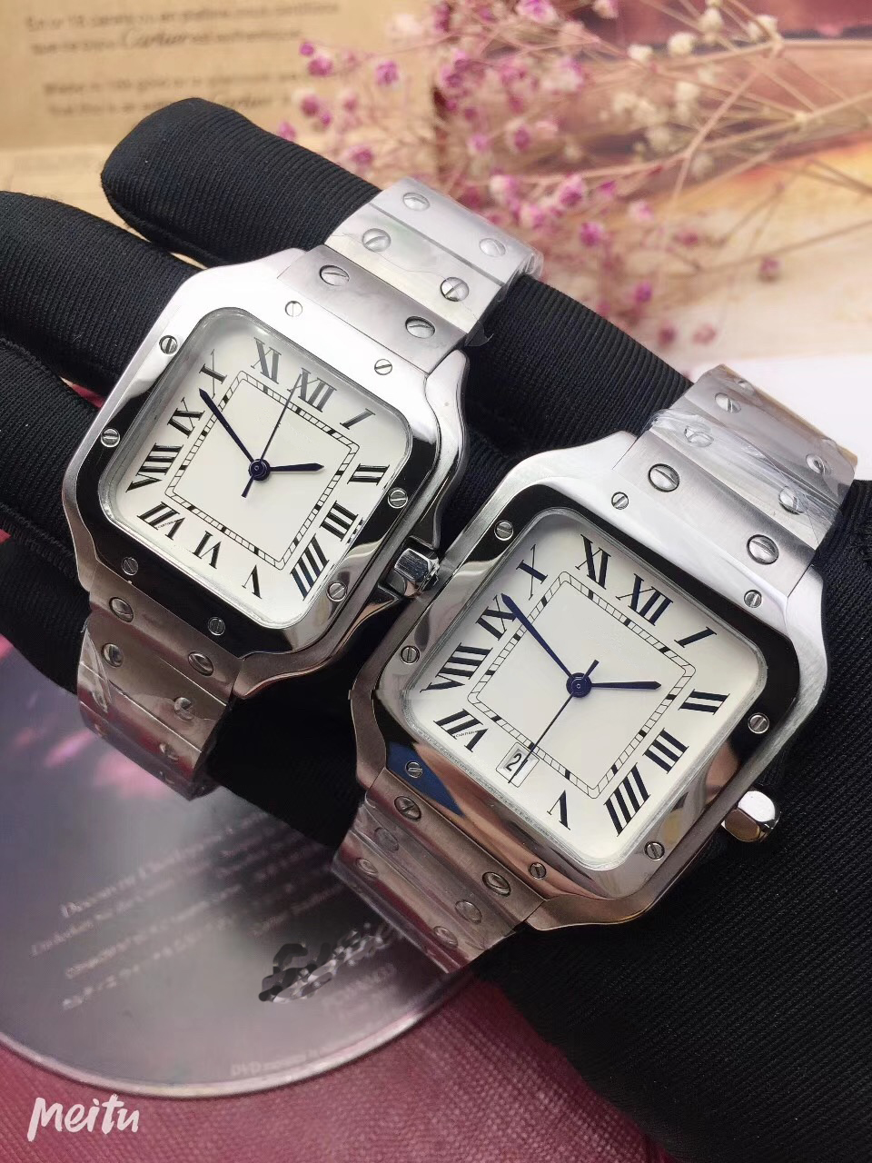 Luxury Brand New Men Watch Women Quartz Sapphire 100 XL Stainless Steel Santos Watches Silver White AAA+ Quality 40mm 35mm