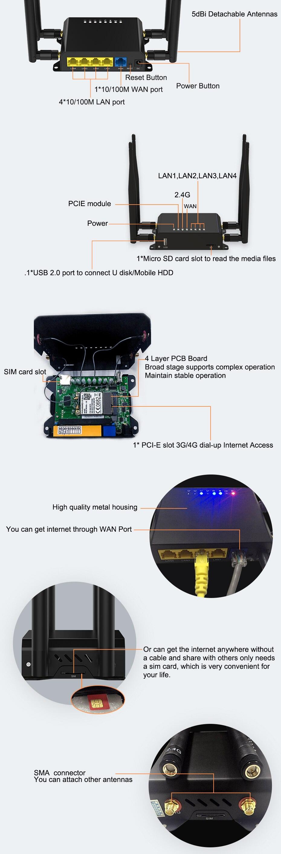 Hotspot lte-roteador sem fio 4g wi-fi, 300mbps,