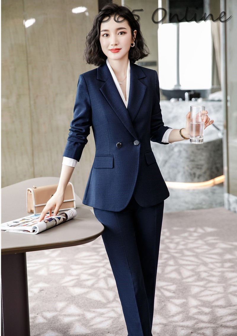 High Quality Fabric Formal Professional Women Business Suits With Pants And Jackets Coat Autumn Winter Ladies Blazers Pantsuits