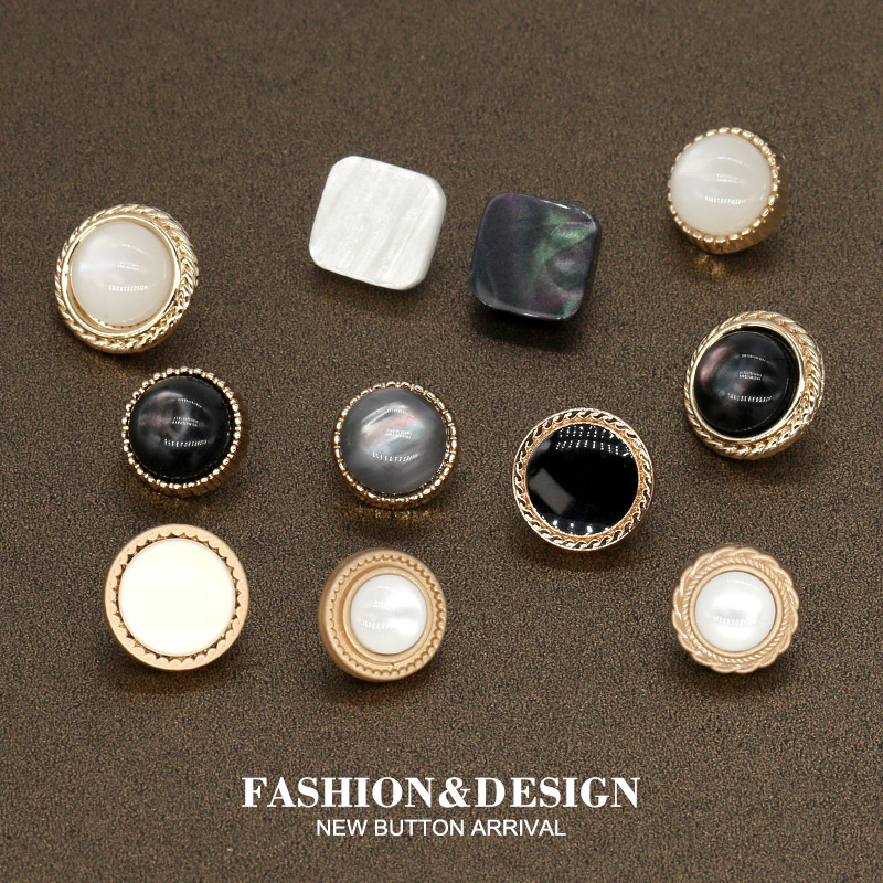 10pcs 10/11mm Lady Shirt's Black Pearl Golden Metal Buttons for Women's Clothing Dress button Sewing Blouse Sweater needlework