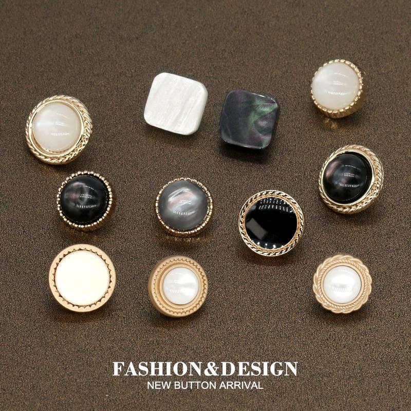 пуговицы для рукоделия, 10 шт. 10/11 мм леди рубашка черный жемчуг золотой металлические пуговицы для женской одежды платье для пришивания пуго...