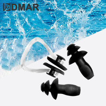 DMAR 1 Set Waterproof Soft Silicone Swimming Nose Clip Ear Plug Earplug Tool Man Woman Children