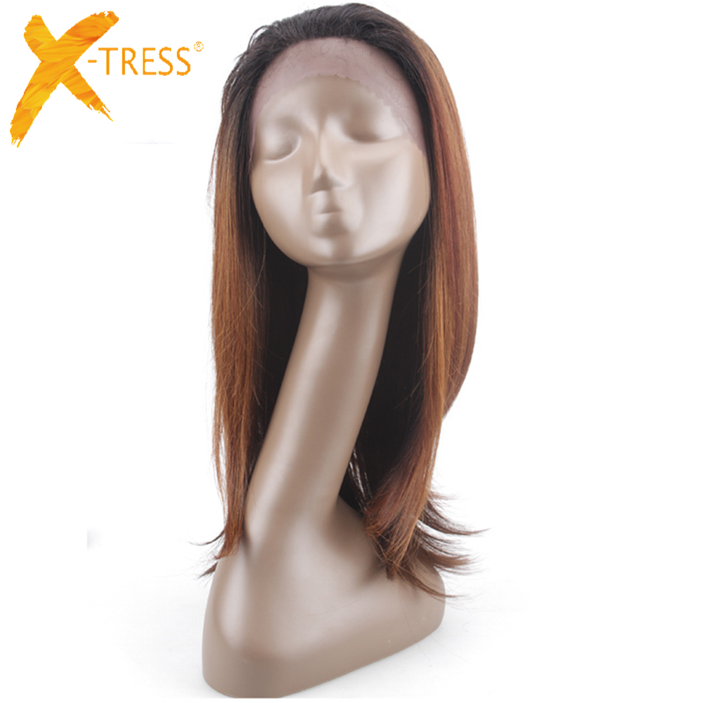 Wigs Color-Lace-Wig Lace-Front Brown Synthetic Ombre Hair Black Straight Women Soft Long