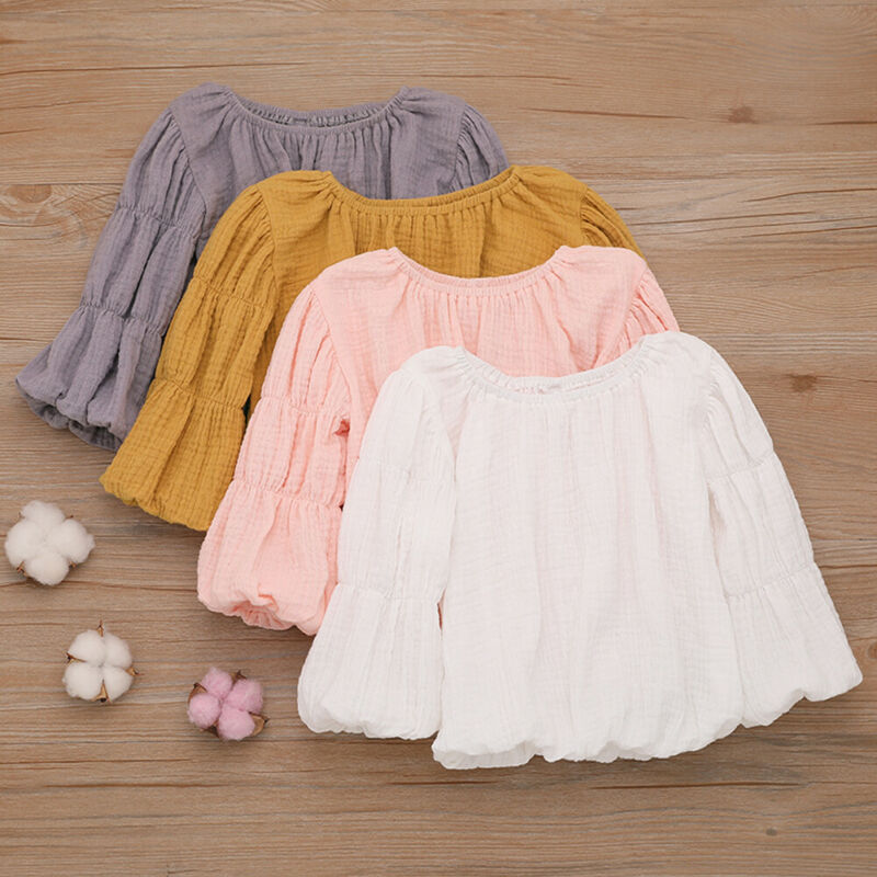 Pudcoco 2019 New Autumn Newborn Baby Girls Long Lantern Sleeve Tops   Shirts     Blouse   Round Neck Fall Solid Fashion Clothes
