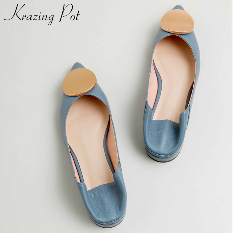Krazing Pot Genuine Leather Sweet Princess Style Metal Decorations Pointed Toe Low Heels Slip On Loafers Women Dating Pumps L16