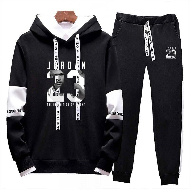 Two Piece Set Hoodie Sweatsuit Men Tracksuit Jordan 23 Jogging Sweat Suits Casual Streetwear Mens Outfits Sport Suits Jogger Set