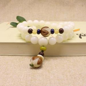 Image 5 - Original Design Natural White Bodhi Root Beads Bracelet Lotus 108 Lotus Mala Healing Prayer Bracelet for Women Jewelry Gift