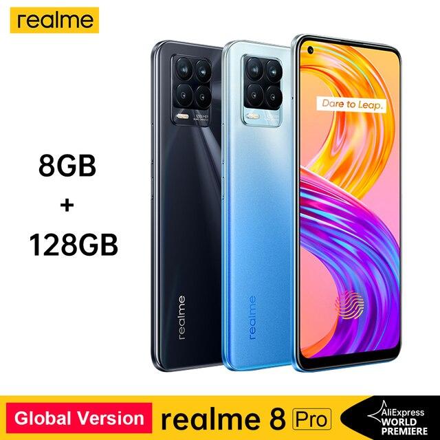 Realme 8 Pro Smartphone 108MP Camera Russian Version Snapdragon 720G Processor 6.4'' inch AMOLED Dispaly 50W Super Dart Charge 1