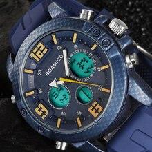 Мужские водонепроницаемые часы BOMAIGO, синие наручные часы с хронографом для плавания, цифровые светодиодные спортивные часы Quatz, мужские наручные часы