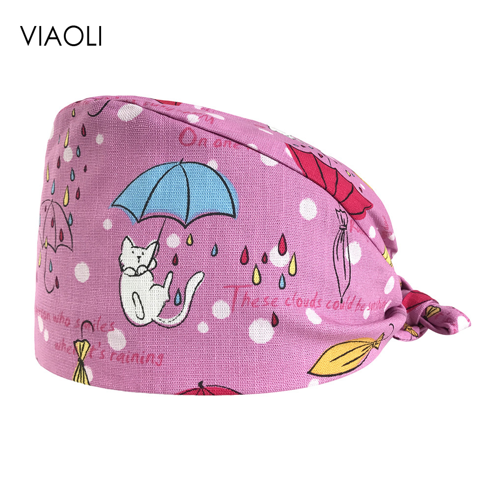 Surgical Cap Men And Women Doctor Hat Cotton Printed Cotton Headscarf Operating Room Multi-purpose Adjustable Lab Hat Beauty Cap