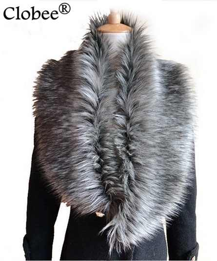 2019 Vintage Women Faux Fox Fur Collar Scarf Winter Thick Warm Vintage Luxury Female Large Shawl Wrap Stole Cape 6 Colors X706