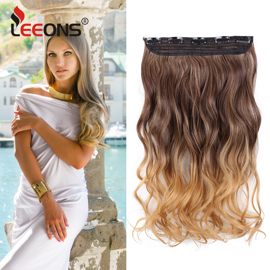 Leeons 22 Inches Synthetic 5 Clips In Hair Extensions Body Wave Natural Hair Fake False Hair Piece Extentions For Women And Girl