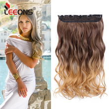 Leeons 22 inches Synthetic 5 Clips in Hair Extensions Body wave Natural