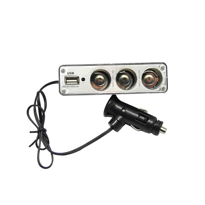 تيار مستمر 12 فولت/24 فولت سيارة ولاعة السجائر الفاصل USB محول القابس شاحن السيارات الناتج الثلاثي محول مع منفذ USB 3 طريقة قابس متعدد