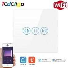 Tedeligo Tuya WiFi Curtain Smart Switch AppControl Electric Motor Blind Roller Shutter SmartLife Wall GlassPanel GoogleHomeAlexa