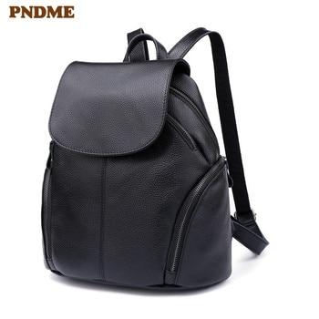PNDME simple casual genuine leather ladies black backpack outdoor travel waterproof soft cowhide cute bagpack for women bookbags