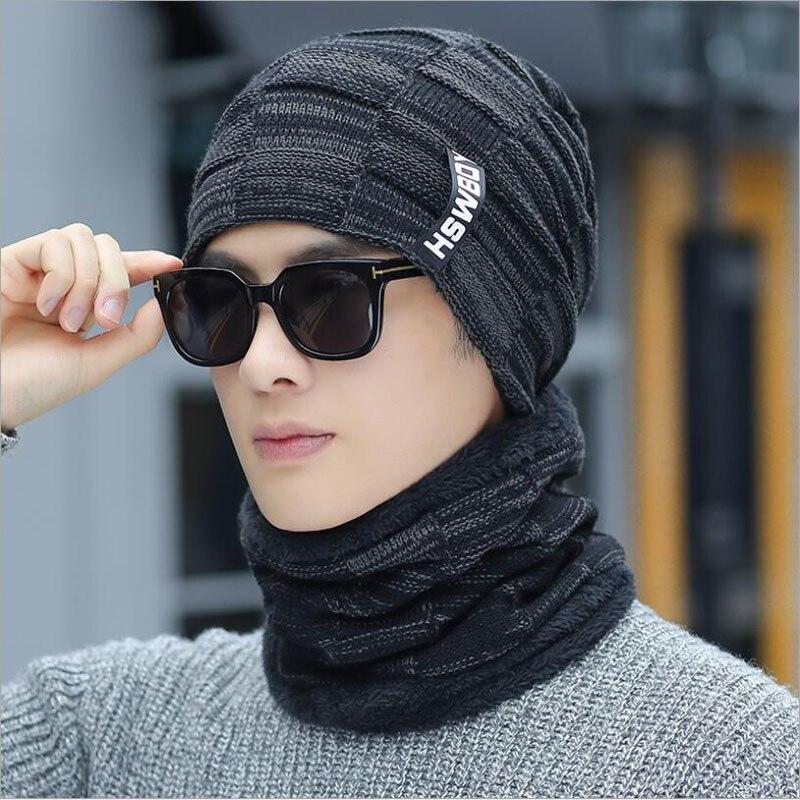 2019 новые зимние шапочки Skullies для женщин мужские шерстяные шарфы головные уборы, Балаклава маска Knitted шапка вязаная