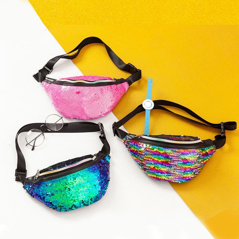 New Sequins Women Fanny Pack Girls Shoulder Belt Bags Fashion Glitter Waist Bag Chest Bag Hip Purse Satchel Gift Running  Pouch