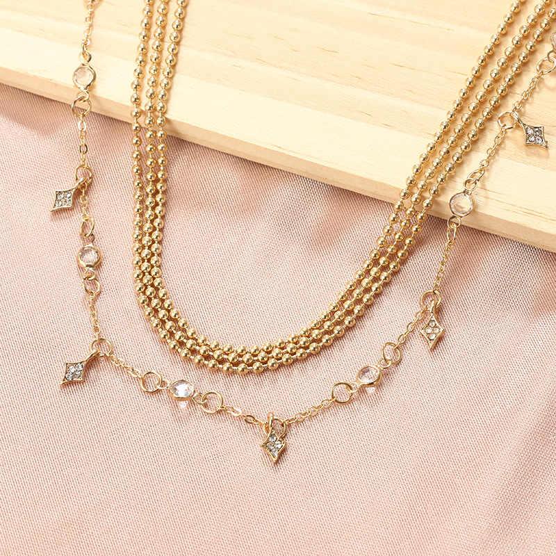Boncuklu zincir geometrik kristal katmanlı kolye kadın moda kristal yıldız kolye kolye zinciri zarif takı