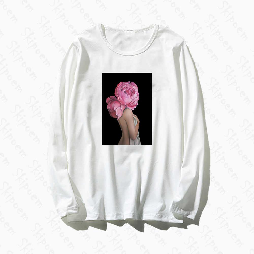 Fotografía arte moda mujer Sexy con camiseta de flores mujeres Tumblr gótico Vintage algodón manga larga de talla grande Ropa Camisetas