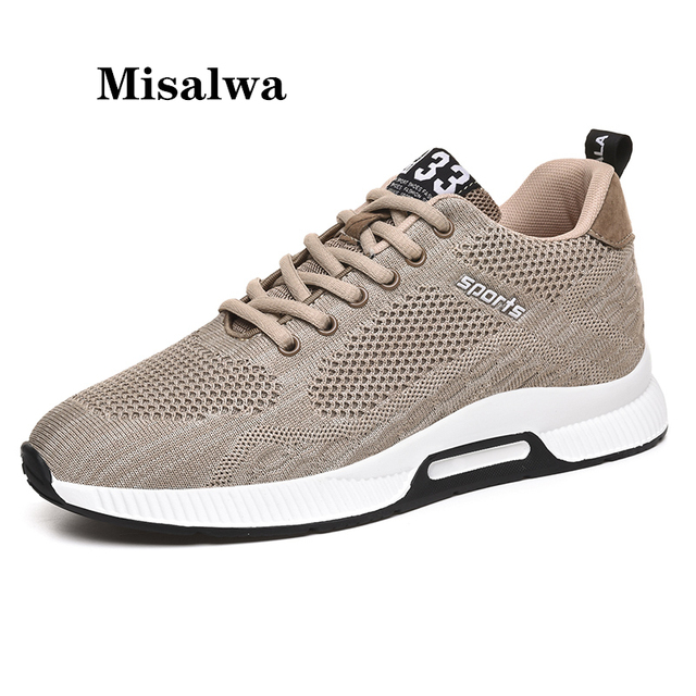 Misalwa Men Elevator Shoes  Invisible Height Increasing Spring Summer Casual Sneaker Soft Breathable Young Men Casual Shoes