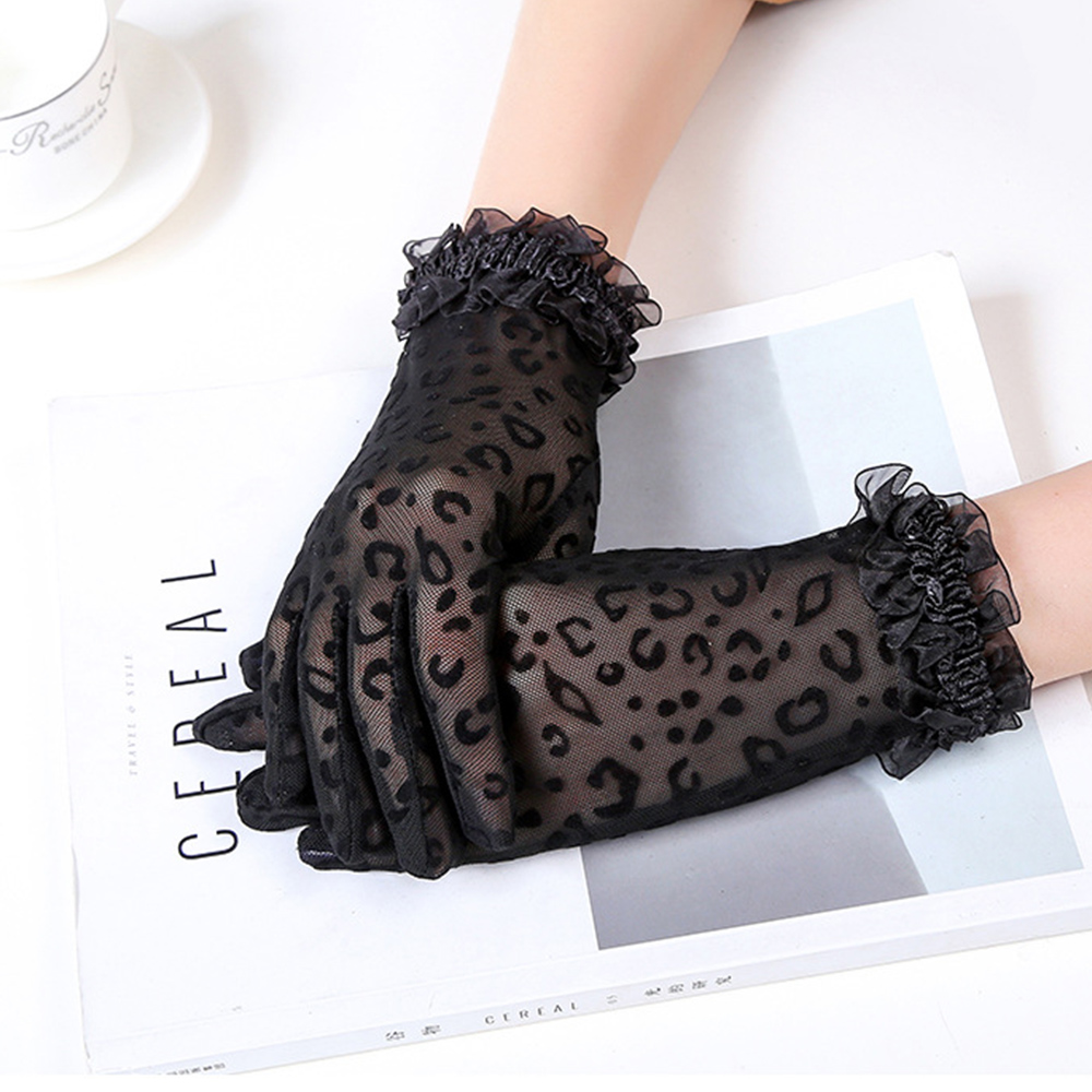 1Pairs Fashion Sexy Leopard Women Lace Gloves Sunscreen UV-Proof Driving Mittens Ladies Party Short Thin Gloves