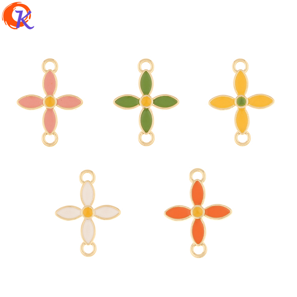 Cordial Design 100Pcs 15*20MM Jewelry Accessories/Hand Made/Paint Effect/DIY Making/Connectors/Flower Shape/Earring Findings