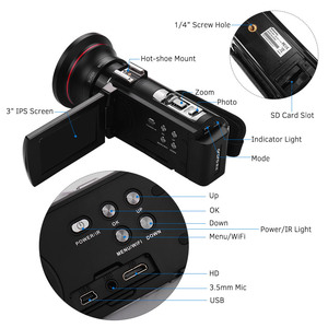 "Image 3 - ORDRO מצלמת וידאו 4K WiFi מצלמת וידאו דיגיטלי DV 30MP 16X 3 ""IPS מסך מגע 0.39X רחב זווית עדשה + מיקרופון + לן הוד + מחזיק משלוח על ידי DHK"