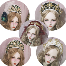 Hand made Palace Style Retro Gorgeous Lolita Bead Chain cross kc feather Hat Hair Ornament / Goth Cosplay Multi color Gem Crown