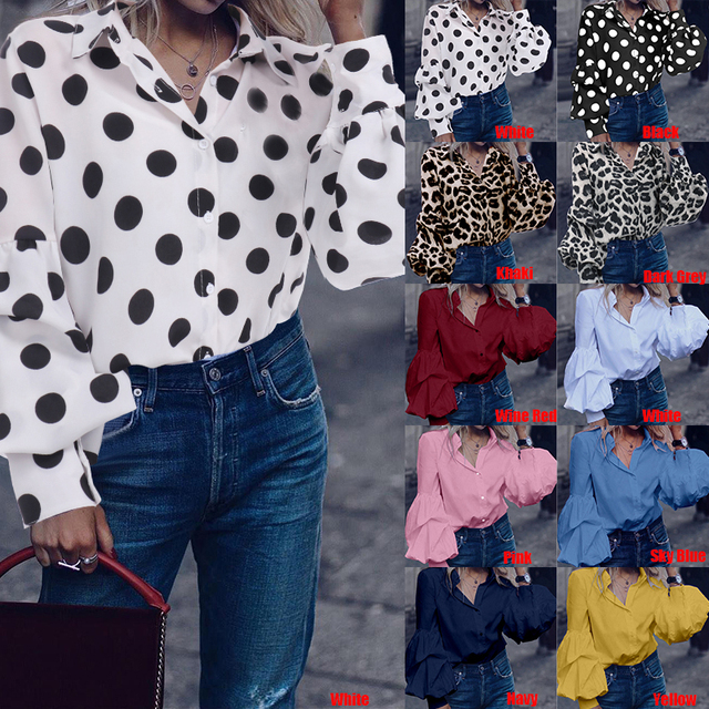 Top Fashion 2019 Celmia Women Long Puff Sleeve Blouses Shirts Lapel Buttons Casual Loose Solid Party Work Blusas Mujer Plus Size 2