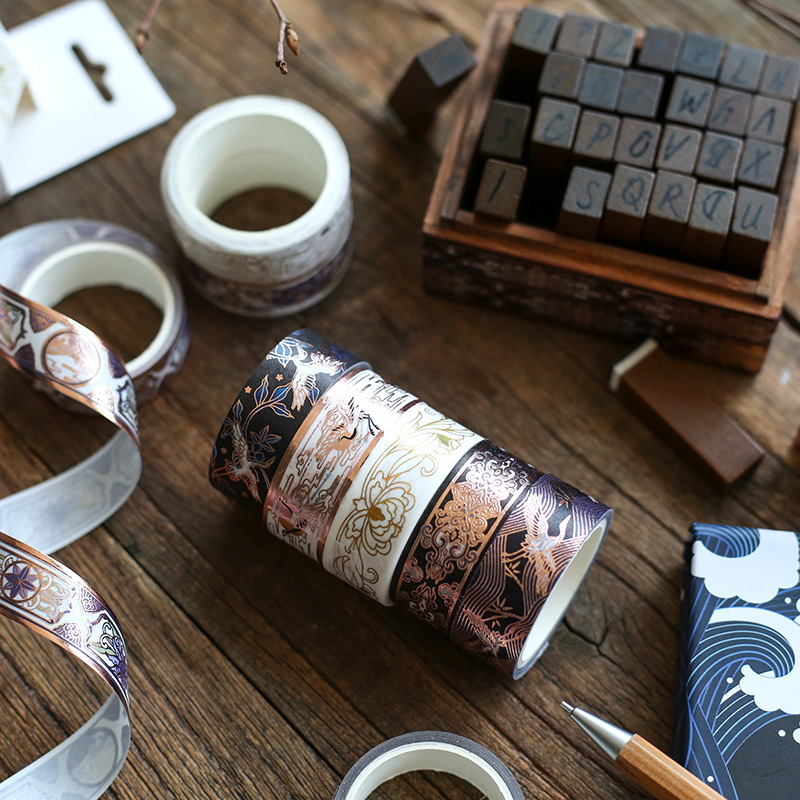 1 Pcs Creative Washi Paper Tape Wind Paintings Poetry Seal Adhesive Tape Series Chinese Retro DIY Tape 15mm*3M Stationery