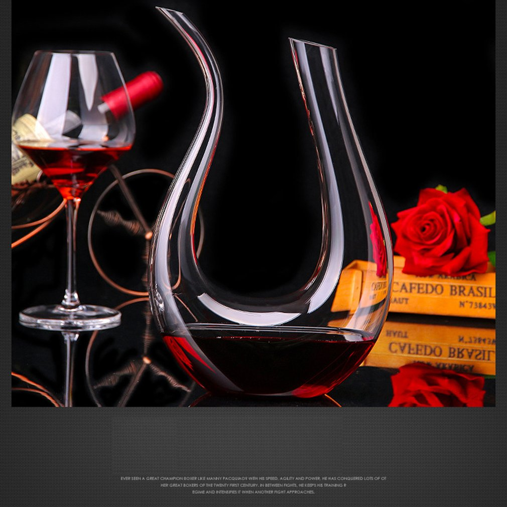 1500ml Crystal Clear Glass U-Shaped Horn Wine Decanter Red Wine Brandy Champagne Jug Pourer Aerator Container Hot Sale